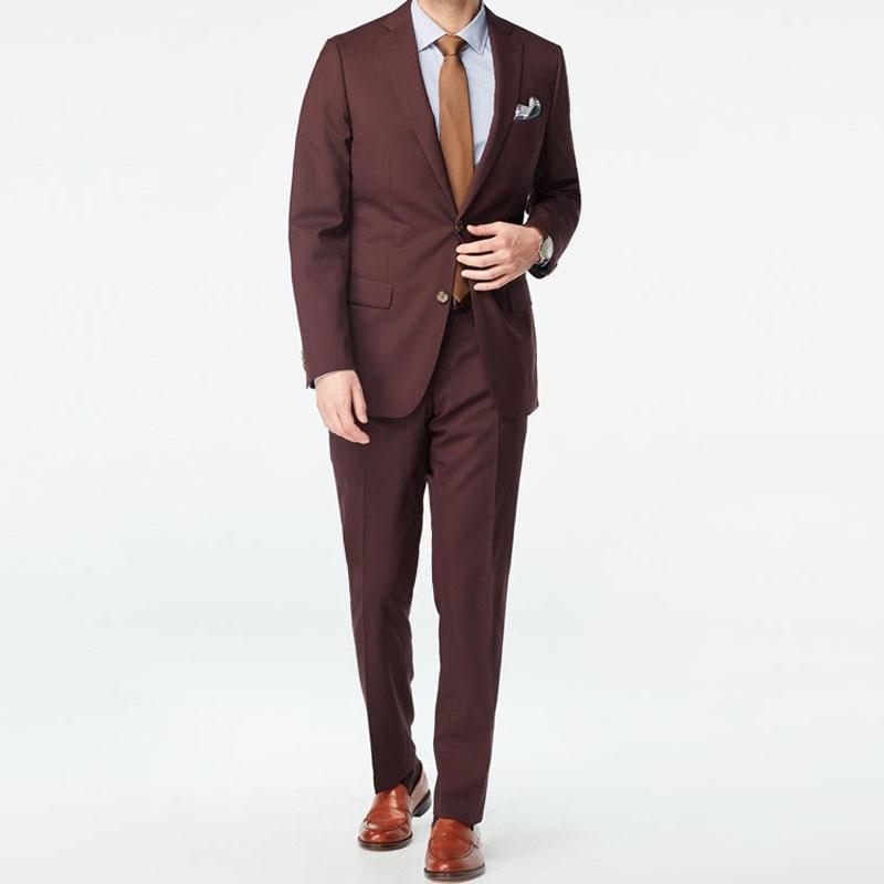 0a39987630 2019 marrón para hombre Casual de trajes slim 100% lana traje hombres  pequeño personalizado trajes personalizados proveedor