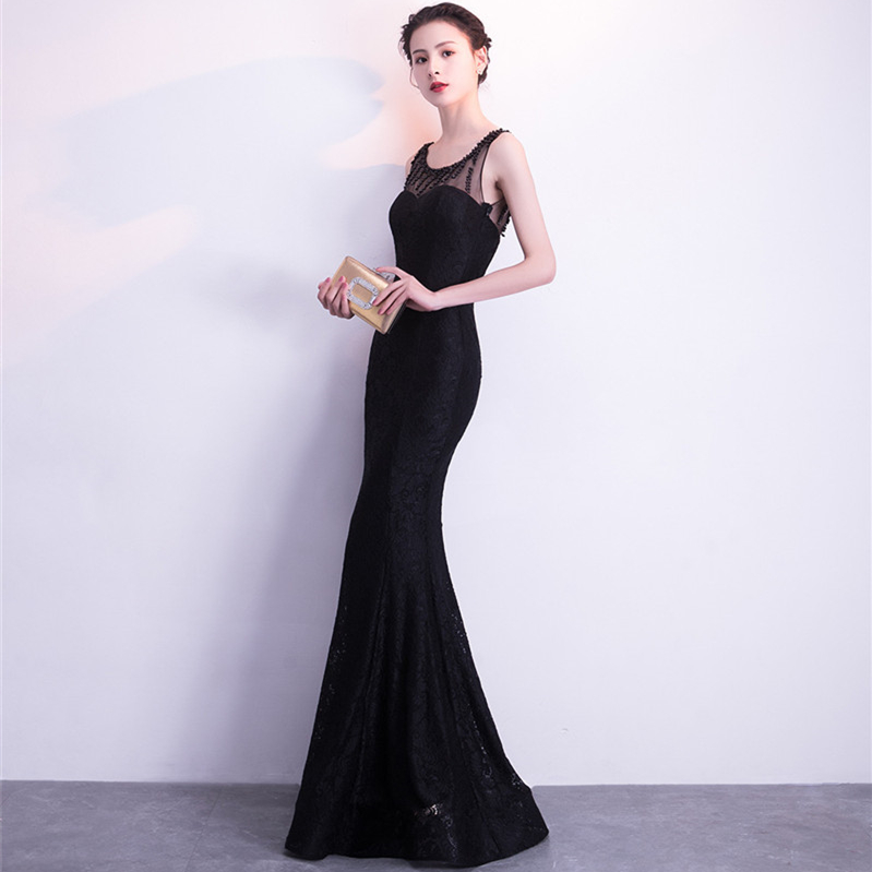 It's Yiiya Evening dresses O-neck Beading Elegent Party Gowns Sleeveless Lace Floor-length Zipper back trumpet Prom dress C158