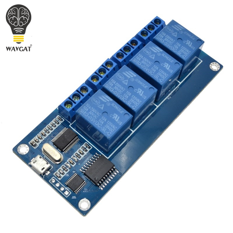 WAVGAT micro usb relay module 5v 4 channel relay module, relay control panel with indicator 4 way relay output usb interfaceWAVGAT micro usb relay module 5v 4 channel relay module, relay control panel with indicator 4 way relay output usb interface
