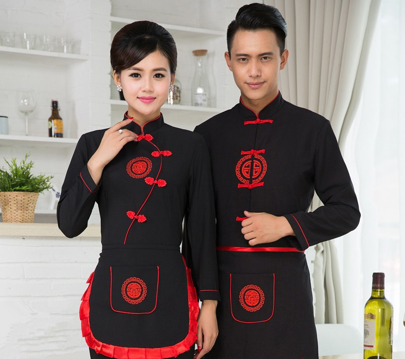Hotel Working Clothing Autumn/Winter Women Chinese Restaurant Waitress Uniform+Apron  Men High Quality Chinese Style Workwear