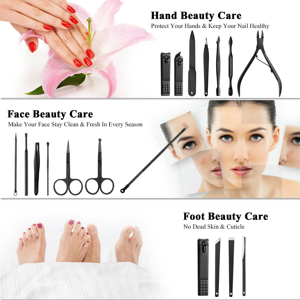 Image 5 - 18pcs Pro Manicure Set Nail Kit Nail Art Tools All For Manicure Sets Pedicure Care With Pusher Ingrown Nail File Polish Tweezer-in Sets & Kits from Beauty & Health