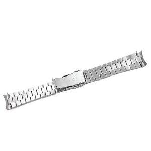 Image 5 - Rolamy 20 22mm srebrny Hollow zakrzywiony koniec solidne ogniwa wymiana Watch Band bransoletka z paskiem podwójne zapięcie Push dla Seiko
