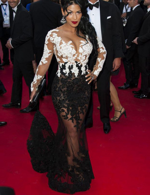 Sexy See Through Lace Long Sleeve Prom Dress Lace Mermaid Black ...