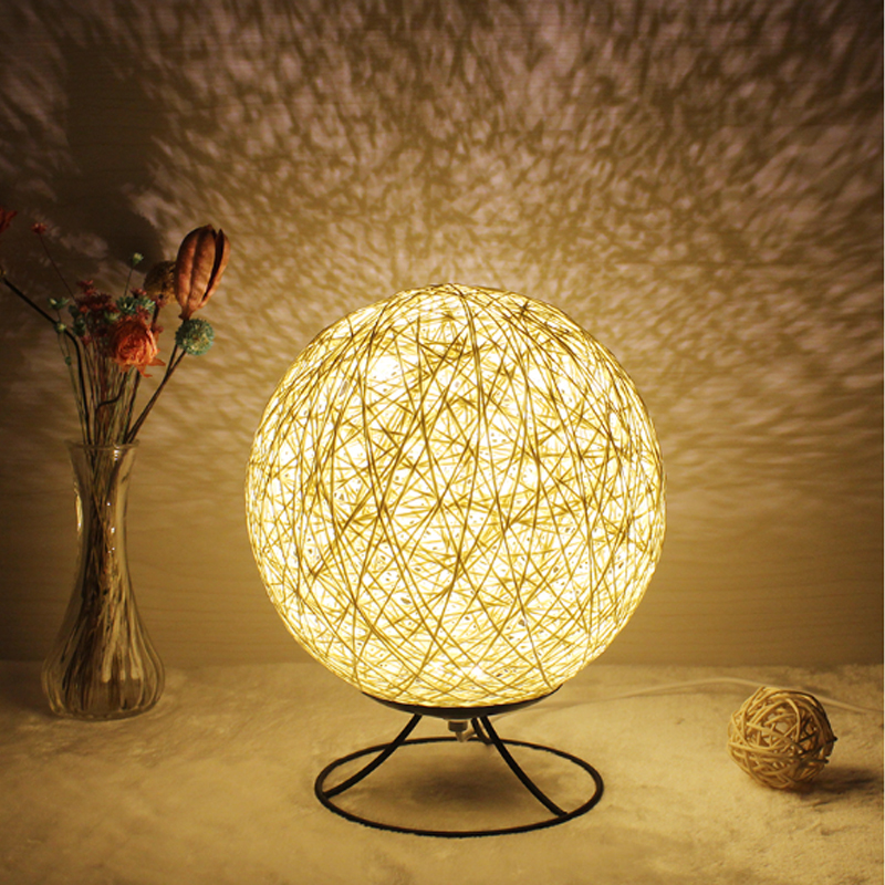 Modern Minimalist led Desk Lamp Creative Wicker Table Lamp Reading Desk Lights Bedside Office Desk Lights Modern led Table Lamp