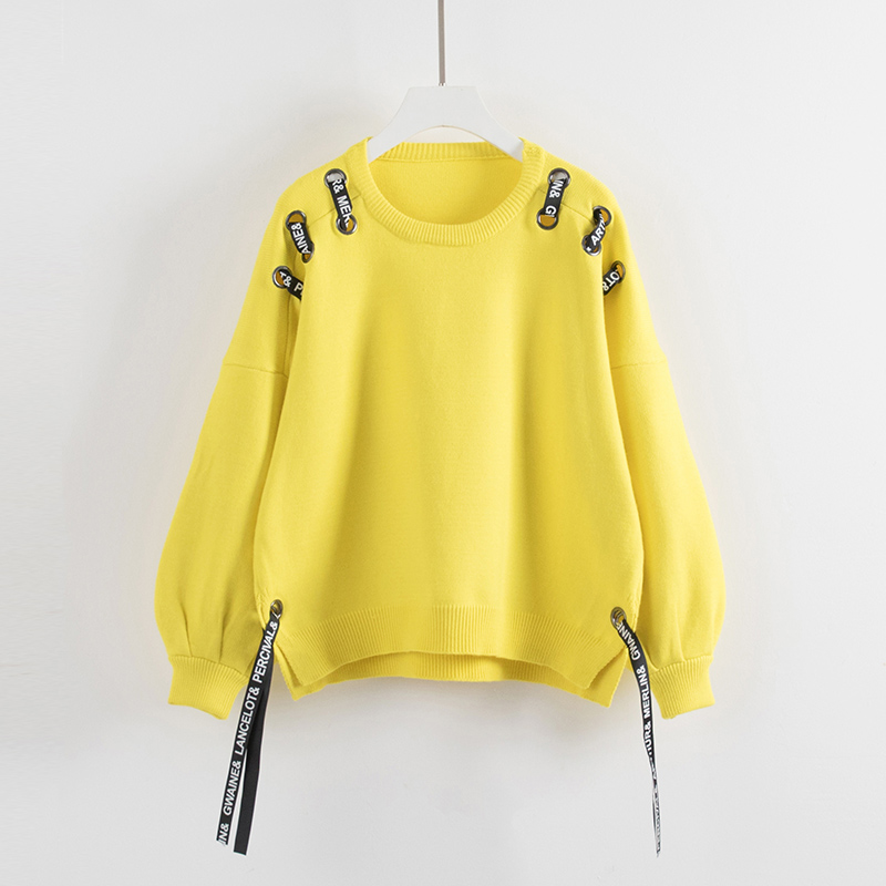 yellow 2017 Black Candy Color Pullover Ribbon Sweater New orange Long neck Sleeves Personality O Women green Knitted Tie Autumn Winter raq7wH4r