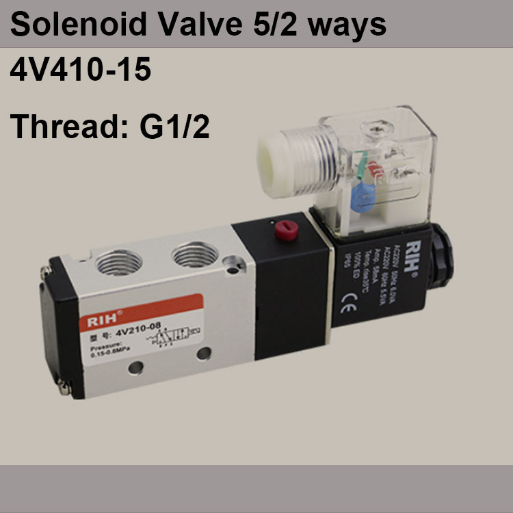 G1/2 4V410-15 2 Position 5 Way Air Solenoid Valves Pneumatic Control Valve , DC12v DC24v AC110v 220v