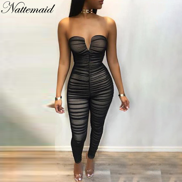 964b63da87a0 NATTEMAID Black Off The Shoulder Jumpsuit 2018 Women Backless Casual Sexy  Overalls Bodycon Draped Strapless Jumpsuit Summer