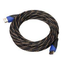 0.5/1/1.8/3M örgülü HDMI kablosu V1.4 AV HD 3D için PS3 Xbox HDTV metre 1080P tırtıklı altın kaplama fiş kafa