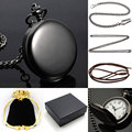 Steampunk Pocket Watch Black Plain Face Necklace Watch With Box