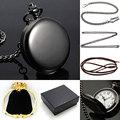 Steampunk Reloj de Bolsillo Llano Negro Cara Del Collar Del Reloj Con la Caja