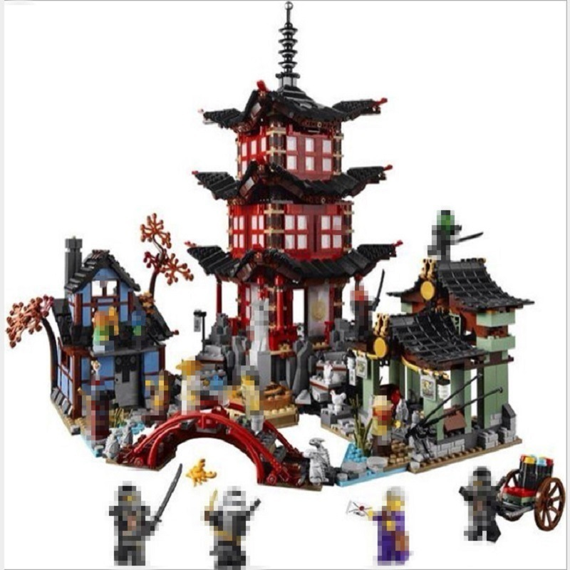 Lepin 06022 Ninja Temple of Airjitzu Building Blocks Compatible Ninja 70751 City Of Stiix Blocks Toys For Children Gifts new lepin 16009 1151pcs queen anne s revenge pirates of the caribbean building blocks set compatible legoed with 4195 children