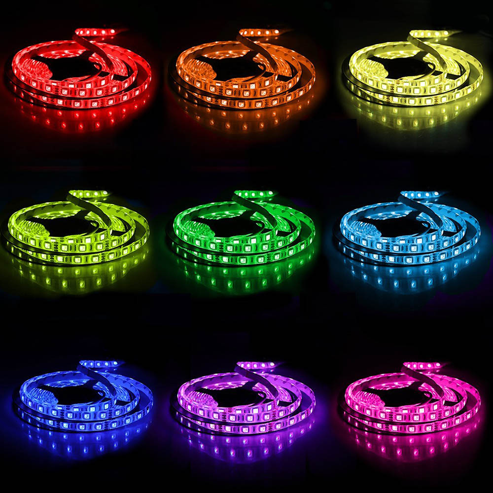 LED Light Strip Waterproof 5M 5050 300LED Flexible RGB Light Strips With Remote Controller And Power Supply Computer TV Lighting