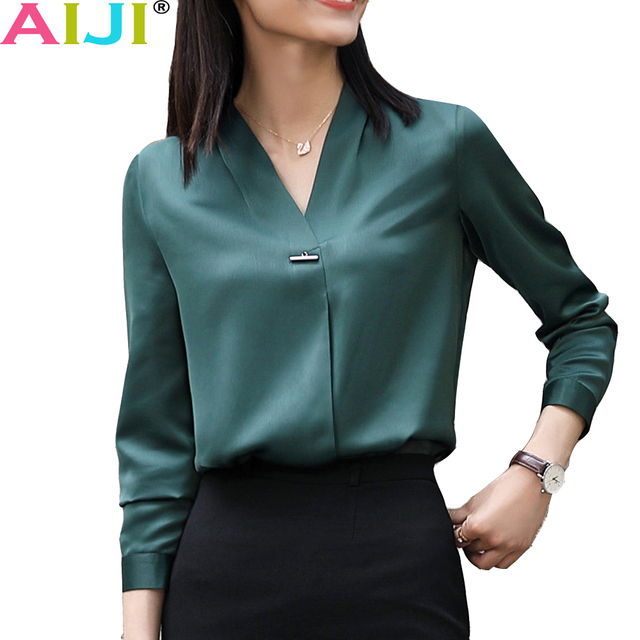 Autumn Winter elegant long sleeve blouses women OL career collar chiffon shirts tops ladies office business plus size work wear