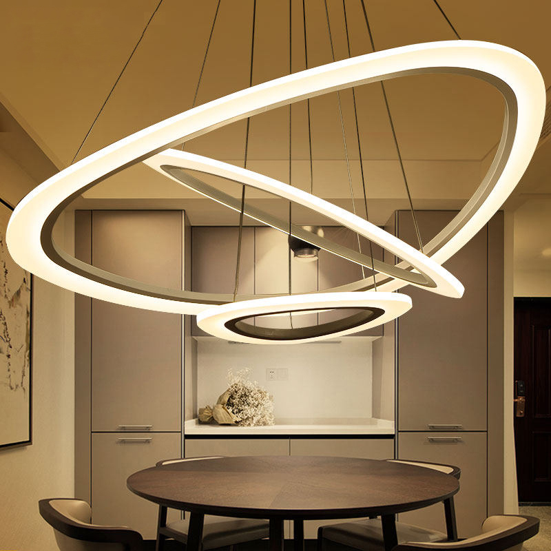 Led Ceiling Lights For Dining Room : Lican circel rings modern led ceiling chandelier lights