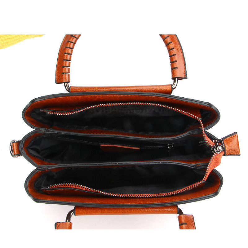 Burminsa Vintage Shell Women Genuine Leather Handbags Metal Handle Female Tote Bags Ladies Shoulder Messenger Bags Autumn 2019