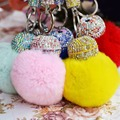 Fluffy Ball Designer Faux Fur Pompom Key Chains Rhinestone Keychains Ladies Perfume Bottle Key Chain Rings Holder Cover Women