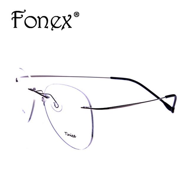 2016 nueva moda piloto vidrios sin rebordes titanium memoria anteojos marco óptico marca miopía 607 tinize