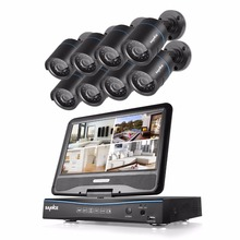 SANNCE 8CH AHD 720P DVR Recorder with built-in 10.1″ LCD monitor 8 1.0MP(1280720) CCTV Cameras, H.264 Real-time Security System