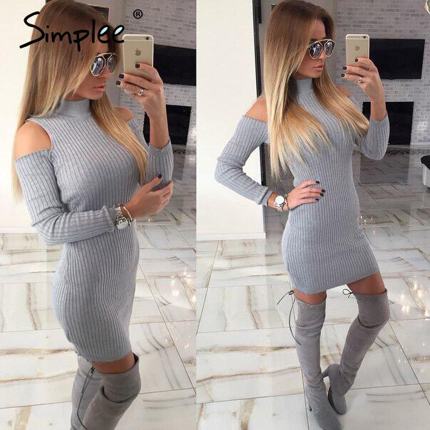 Simplee Apparel Winter sexy off shoulder knitted dress Women evening party bodycon dress sweater pull femme vestidos de fiesta