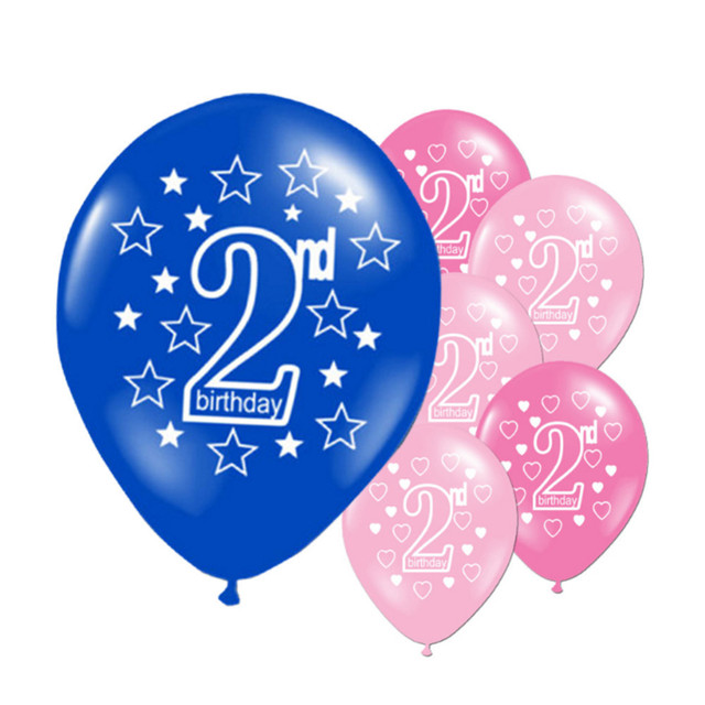 10pcs Set Baby Happy 2nd Birthday Party Balloons 12 Inches Kids Decorative