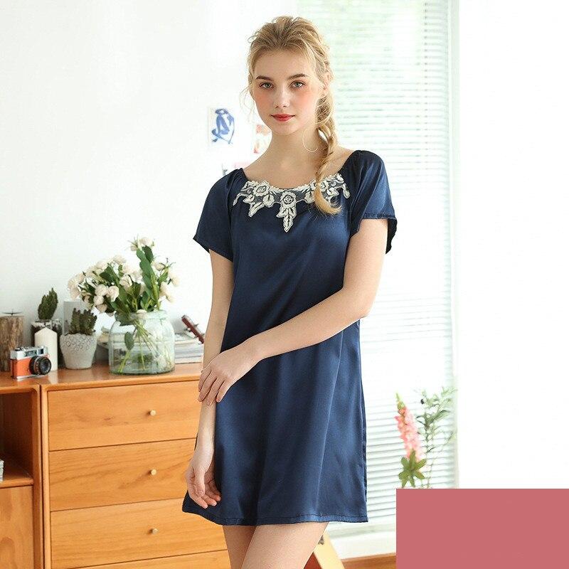 2019 Satin Nightsuits Women Nightwear Nightdress Sexy Silk Short Sleeve Ladies   Nightgowns   Pijamas Nightdress   Sleepshirts