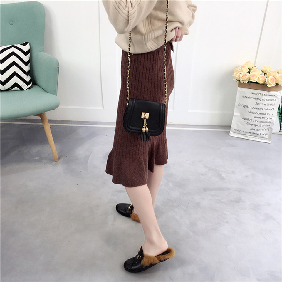Vintage Woolen Warm Knitted Pencil Skirt