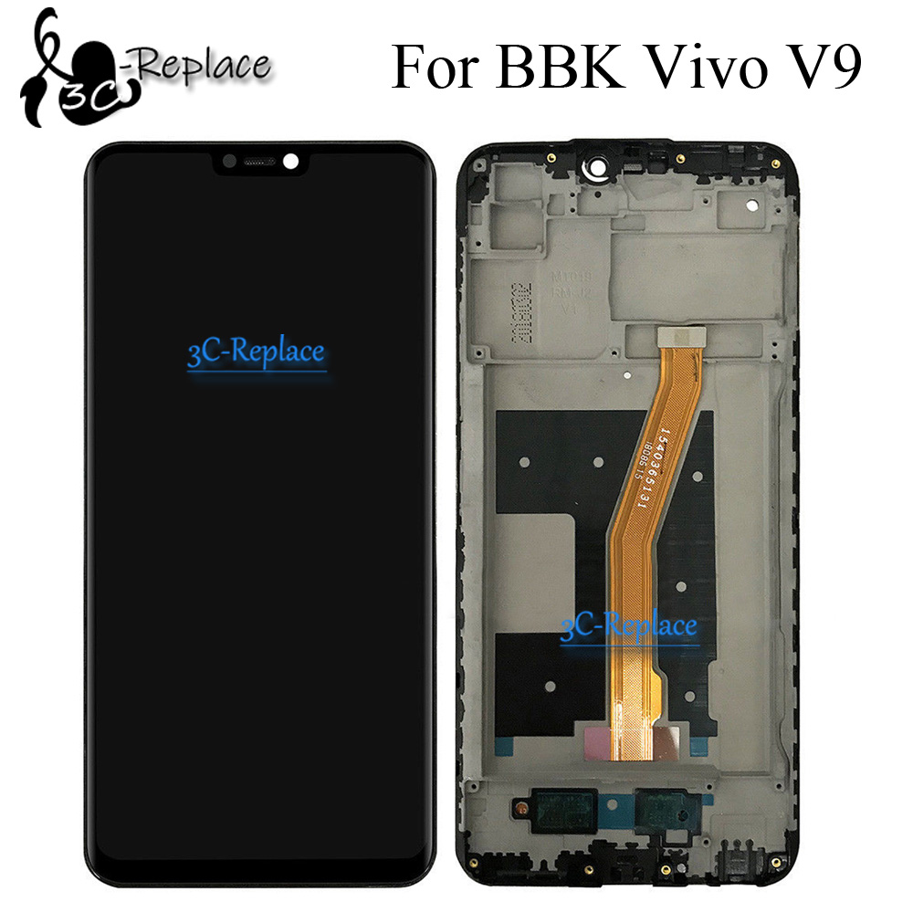 Black/White 6.3 inch High Quality For BBK Vivo V9 Full Lcd  Display Screen Display With Touch Glass Digitizer Assembly With  FrameMobile Phone LCD Screens