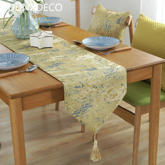 DUNXDECO Table Runner Party Dinner Tablecloth Long Table Cover Fabric  Modern Simple Abstract Home Store Table