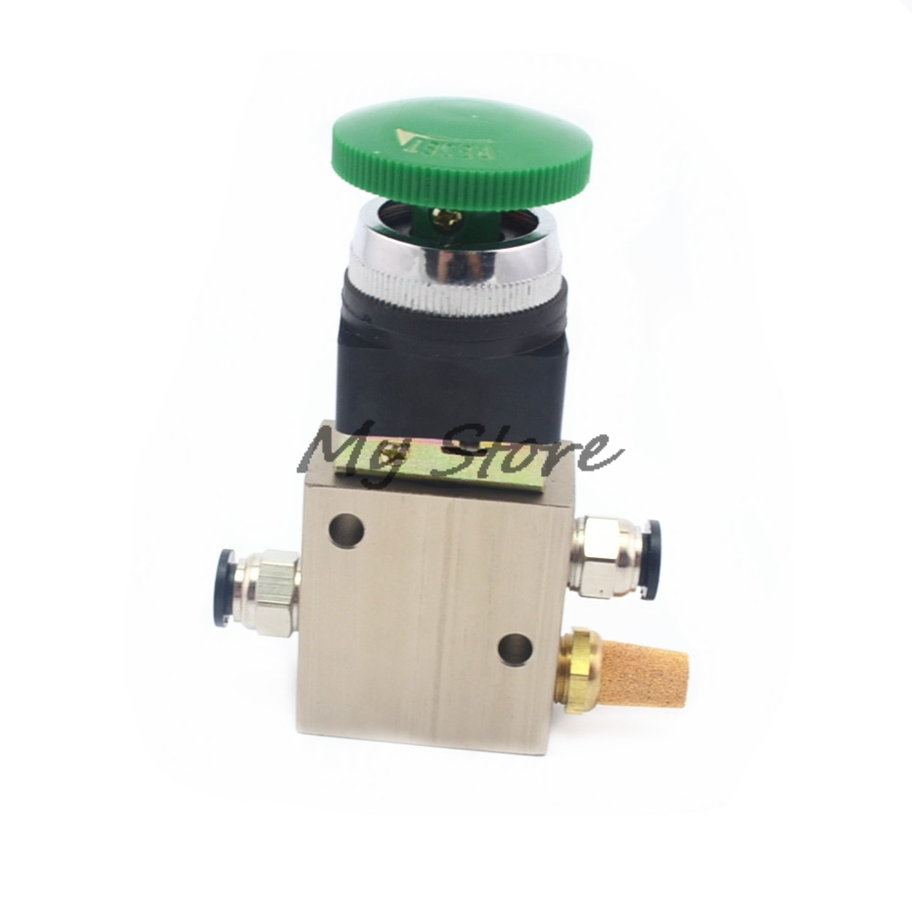 Pneumatic switch 1/4 PT Green Mushroom Button 3 Position 2 Way Pneumatic Mechanical Valve jm mov mechanical valve control valve people pneumatic components knob button mushroom head spin with a lock lever handle