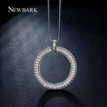 NEWBARK Big Circle Pendant Necklace Paved Tiny Zirconia Stones White Gold Plated Circle Of Life Necklaces