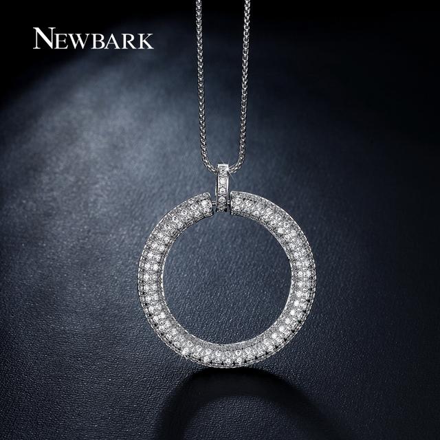 NEWBARK Gran Círculo Colgante Collar Tiny Zirconia Piedras Pavimentada Oro Blanco Plateó el Círculo De La Vida Collares Joyas Para La Mujer
