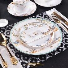 Китайский стиль роскошный фарфор обеденные тарелки креативные керамические Западное озеро Столовый Текстиль для отеля набор столовых приборов декоративная плоская тарелка для стейка