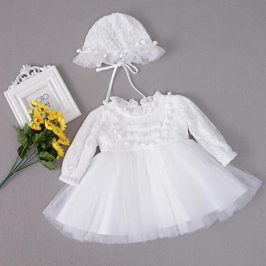 2PC Baby Girl White Red Balls Double Bows Dresses Christening Gown Dresses Princess Wedding Party Dress For Newborn Baptism Hat