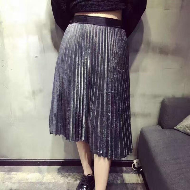 Women Midi Skirt High Waist Metallic Silver Skirts Fashion Autumn Pleated Skirt Party Clubwear for Ladies
