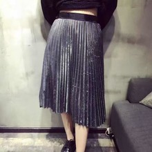Women Metallic Silver Skirt Midi Skirt High Waist Metallic Pleated Skirt Party Club Ladies o ring zip up metallic skirt