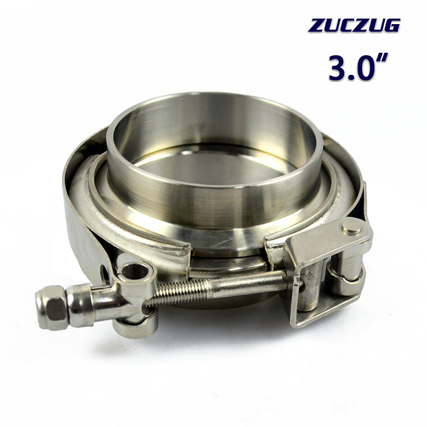 ZUCZUG 3.0 Inch Quick Release V Band Clamp With   Flanges Set In 304 Stainless Steel For Turbo Downpipe