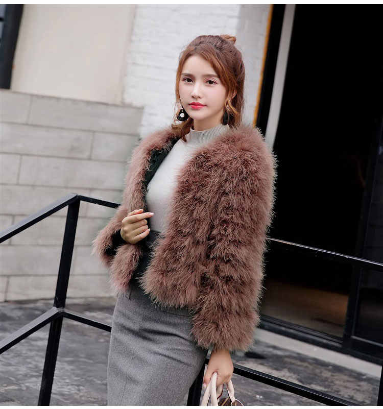 34e2b99b382 ... 2018 new arrival natural Women Real Turkey Fur Coats and jackets Femme Genuine  Ostrich Feather Fur
