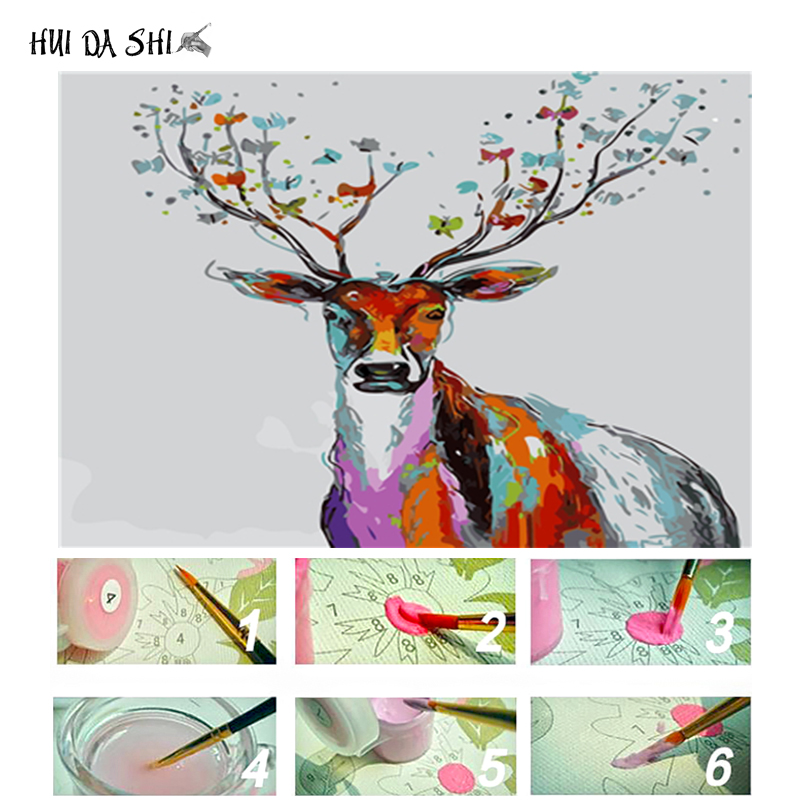 Deer Diy Oil Painting Frame Digital Canvas By Numbers with Acrylic Paint Home Decor Elk On Handmade