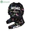 0-2 T Do Bebê da menina roupas de inverno Primavera Moda graffiti impressão bebê Recém-nascido Conjunto de roupas menino Menina Manga Longa Roupa infantil
