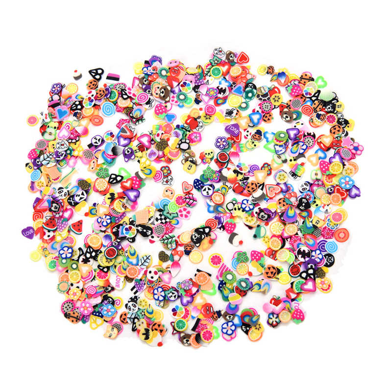 1000 Buah/Bungkus 3D Bunga Buah Bulu Desain Irisan Kecil Polimer Clay DIY Mainan Anak Perempuan Stiker Gadis Hadiah 3 Mm