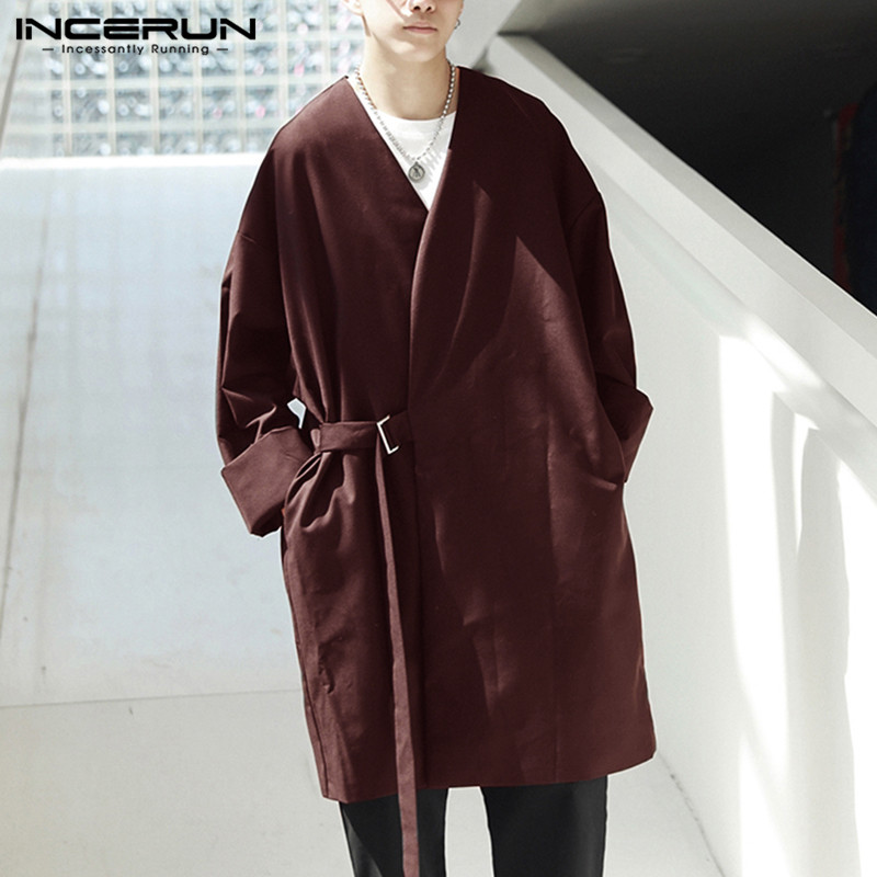 INCERUN New Men   Trench   Coat Long Sleeve Loose Lace Up Kimono Windbreaker Streetwear Punk Style Solid Men Jacket Outerwear 2019