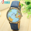 Willby Mini World Map Assista Homens Mulheres Relógios de Presente Azul 161223 o Transporte Da Gota