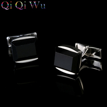 New 2017 Black Agate Cufflinks Silver Cuff links Designer Mens French Shirt Gemelos Cuffs Boutons Wedding Gifts for Men Guests все цены