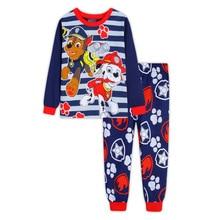 Купить с кэшбэком New Kids cotton children's long-sleeved  Boys Girls  baby cartoon home service suit pajamas