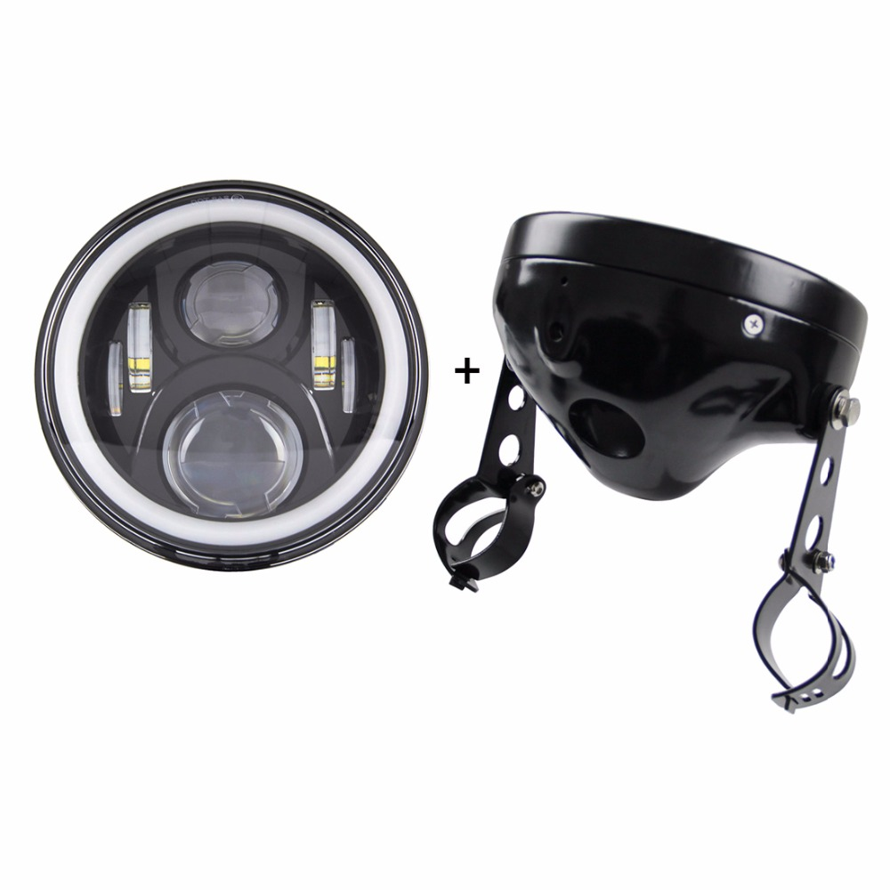 7 inch round motorcycle led headlight headlamp with 7 inch housing 7 Headlight Motorcycle H4 Black