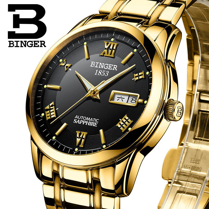 Switzerland watches men luxury brand Wristwatches BINGER luminous Automatic self-wind full stainless steel Waterproof  BG-0383-3 switzerland watches men luxury brand wristwatches binger luminous automatic self wind full stainless steel waterproof bg 0383 3