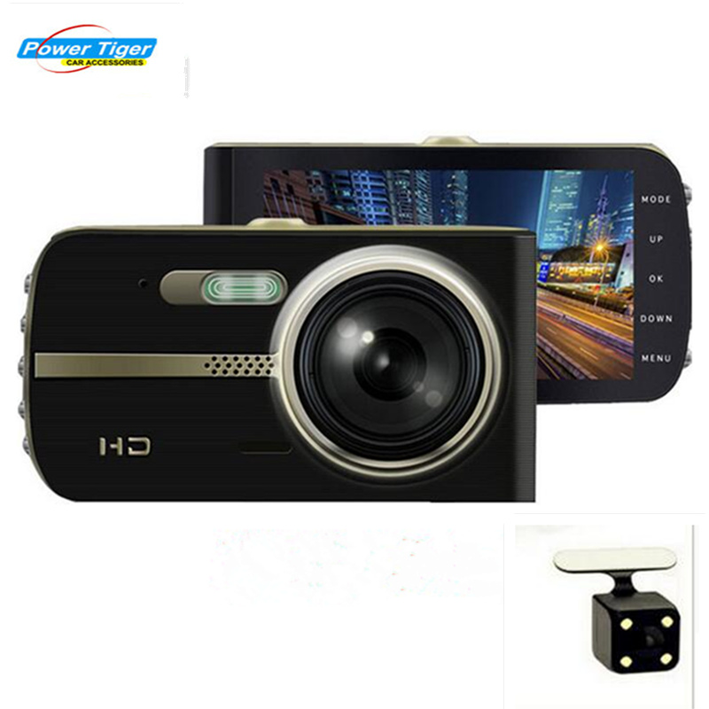 POWERTIGER 2017 НОВАТЭК 96658 Новый 4-дюймовый двойной объектив Автомобильный видеорегистратор полный HD 1080p Видео рекордер камеры автомобиля тире CAM камеры
