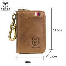 BULLCAPTAIN Brand Genuine Leather Men Wallets Fashion Multif