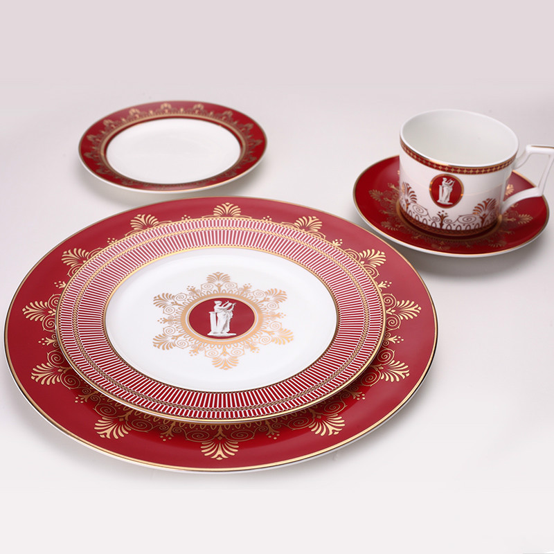 Dinnerware Sets  Dishes And Plates Sets Tableware Bone China Dinnerware Red 24k Gold Inlay