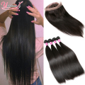 Brazilian Straight Virgin Hair With Frontal Closure 4 Bundles Straight Hair With Closure 360 Lace Frontal Closure With Bundles